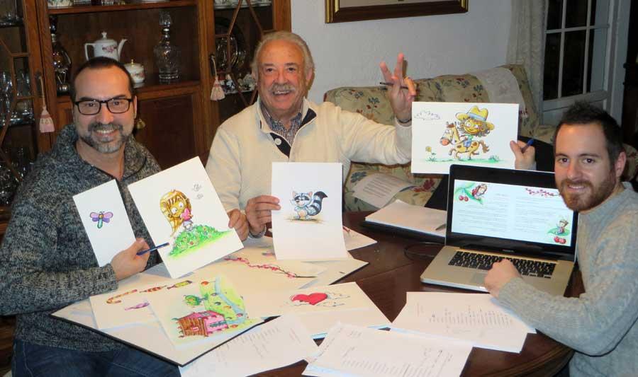Xino, Francisco Ponce y Cuin durante el desarrollo de ilustraciones y maquetación.